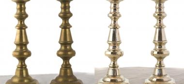 Metal Polishing Aberdeen - Polished Brass Candle Stick Set